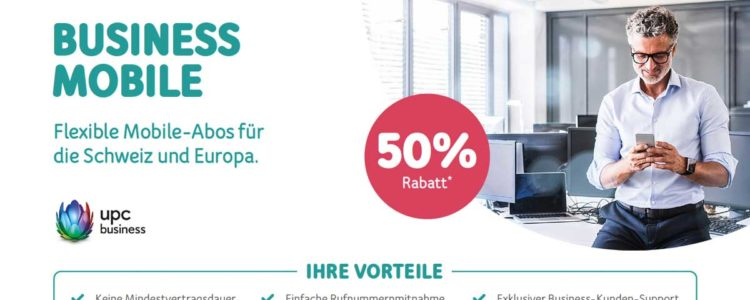 50% Rabatt Aktion Business Mobile-Abos von UPC