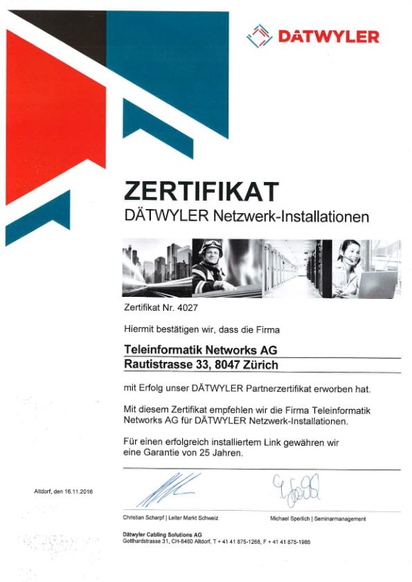 Zertifikat Netzwerk-Installationen